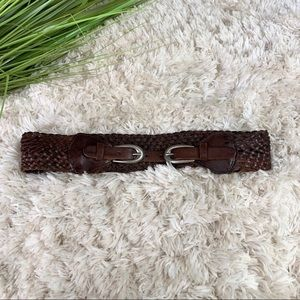 Bed Stu double buckle braided leather belt small